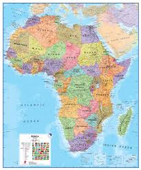 Physical Africa Map by Wall Map Of Africa Large Laminated Political Map