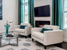 traditional interior turquoise living room wall color with custom