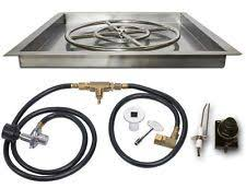 Square Fire Pit Kit by Dreffco Stainless Steel Triple Burner Pan For Fireplace Or Fire