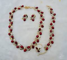 red necklace earrings set images Flowers mosaic zircon alloy jewelry set including necklaces jpg