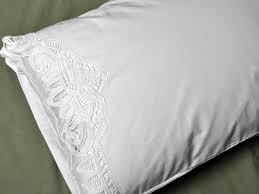 of white cotton battenburg lace pillowcases