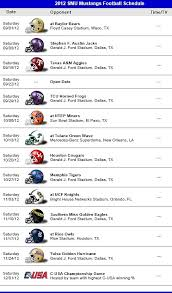 mustang football schedule smu mustangs football team 2012 schedule smu southern methodist