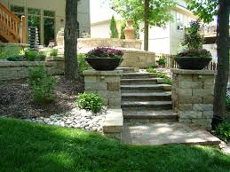 patio u0026 outdoor limestone stairs and brick wall for backyard