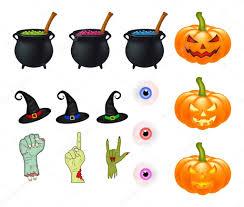 halloween cartoon vector set symbols collection set of vector