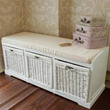Wicker Shelves Bathroom by Bathroom Endearing White Wicker Storage Bench White Painted