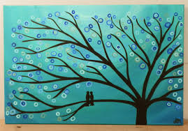 teal turquoise tree painting whimsical abstract louisemead