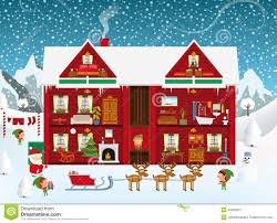 Christmas House by Inside The Santa S House Stock Vector Image 43932527