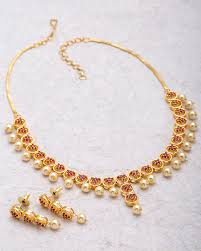 red necklace women images Buy designer necklace sets red ruby cz necklace set with pearl jpg