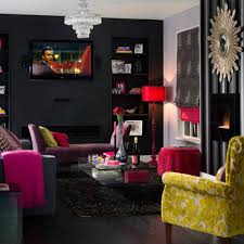 Dark Grey Accent Wall by Dark Grey Wall Color With Pink Floor Lamp For Unique Living Room