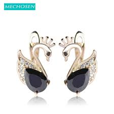 brinco zirconia mechosen swan shape lock clasp earrings for women