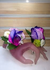 purple corsage corsage boutonniere combo rainbow roses purple pink white in
