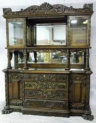 Beveled Glass China Cabinet Oak Sideboard Heavily Carved China Cabinet Top With Beveled