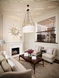 quatrefoil ceiling transitional living room khachi design group