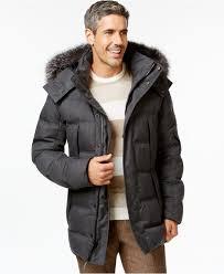 andrew marc haydon fur trim hood puffer coat in gray for men lyst