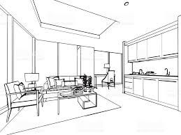 outline sketch drawing interior perspective of house stock vector