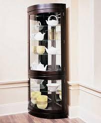 curio cabinet curved corner curiobinet front oak glass