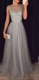 a line tulle grey prom dresses modest evening dress with sparkle