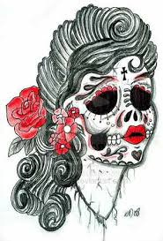grey ink skull tattoo design