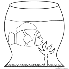 clown fish in fish bowl coloring page fish