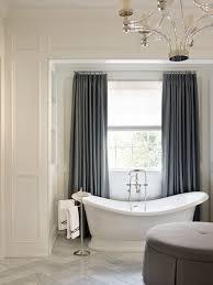 traditional master bathroom ideas features blue bathroom curtains
