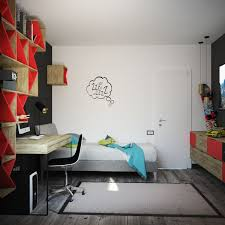 Red Kids Desk by Teens Room Black And Red Boys Room Features Floating Shelves With
