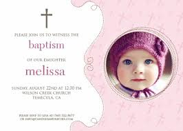 cross pink photo baptism christening invitations candles and