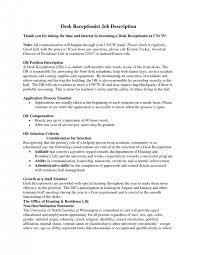 Medical Office Receptionist Resume Sample by Cover Letter Medical Front Desk Receptionist Job Description
