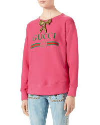 pink clothing gucci gucci print sweatshirt with bow bright pink