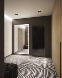 bold black and white tile foyer interior design ideas