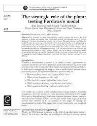 the strategic role of the plant testing ferdows u0027s model