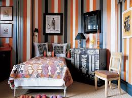 funky bedroom decor with eclectic printed bed sheet and unique