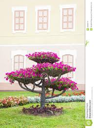 Design Flower Pots City Landscape Design Flower Pots With Petunia On Tree Stock