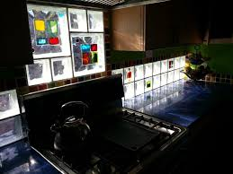 kitchen backsplash with art glass tile blocks for light u0026 privacy