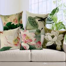 Chinese Style Home Decor Chinese Style Lotus Cushion Cover Painting Throw Pillow Case