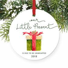 our present 2018 pregnancy announcement ornament