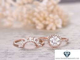 crown wedding rings 7mm cut moissanite engagement ring set diamond halo sunburst