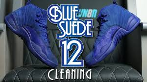 how to clean blue suede jordan 12 youtube