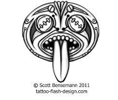 totem face spirit aztec mayan maori tiki tattoo