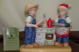 home interior denim days figurines home interior denim days cookies for santa 59177 painted