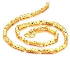 man necklace gold jewelry images Opk jewelry luxury men 39 s bamboo link necklace 18k yellow gold jpg