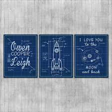 space nursery wall art rocket ship babys room space theme
