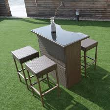 5 pcs rattan wicker dining table set outdoor furniture sets