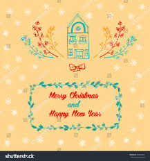 quote happy christmas hand drawn postcard quote merry christmas stock vector 343819598
