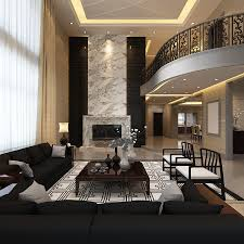 elegant living room ideas with nice chandelier and black sofa