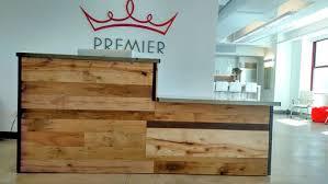 Custom Made Reception Desk Handmade Reclaimed Wood Steel Reception Desk By Re Dwell
