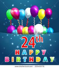 24 year happy birthday card balloons stock vector 205455778