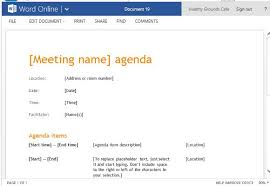 business meeting agenda template for word online