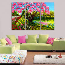 online get cheap garden art wall aliexpress com alibaba group hd oil painting garden of flower decoration painting home decor on canvas modern wall art canvas