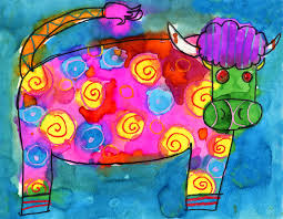colorful cow art drawing project for kids ziggity zoom