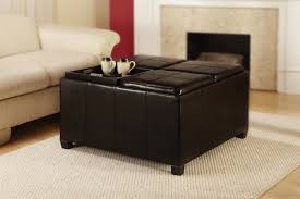 black faux leather ottoman coffee table with storage and table